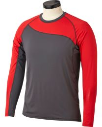 Bauer Pro Long Sleeve Grip Top in Grey and Red - Senior